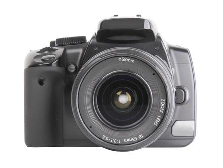 Black digital SLR camera isolated on white background