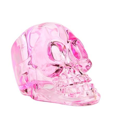 pink transparent skull isolated on white background photo