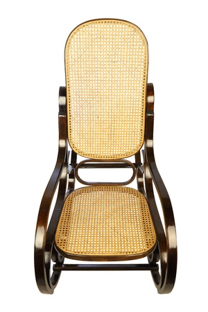 dark brown rocking chair with yellow braided back and seat photo