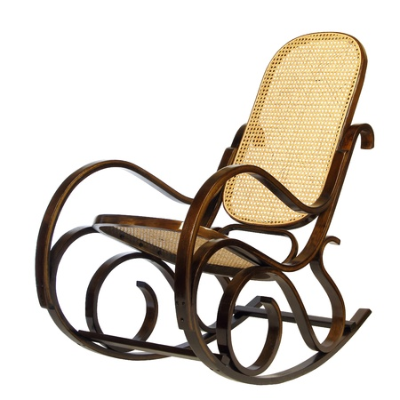 wooden furniture: dark brown rocking chair with yellow braided back and seat