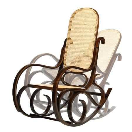 dark brown rocking chair with yellow braided back and seat. There are different phases of movement.