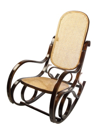 Dark Brown Rocking Chair With Yellow Braided Back And Seat Stock Photo    9520113