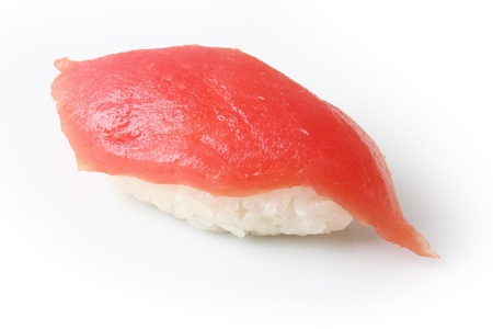 maguro: sushi maguro with scarlet  tuna on background of white dish Stock Photo