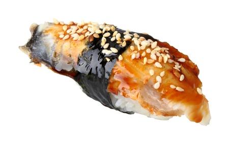sushi unagi with sauced slice of smoked Eel isolated on white background