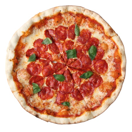 Pizza pepperoni isolated over white background. Top view. photo