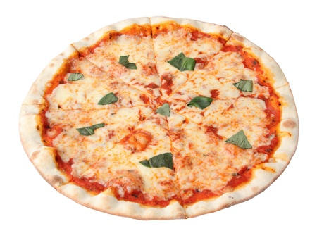 Pizza margherita isolated over white background.  Banco de Imagens