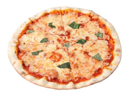 Pizza margherita isolated over white background.  Standard-Bild