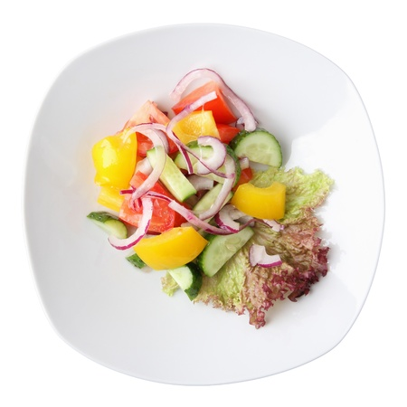 lowfat: salad midori sarada -  tomato, cucumber, sweet pepper in white dish isolated on a white background. Top view. Stock Photo