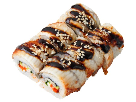 Six sauced rolls uramaki isolated over white background photo