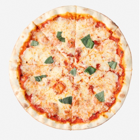 margarita: Pizza margherita isolated over white background. Top view.