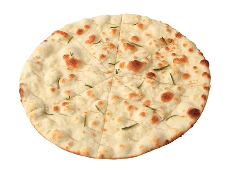 crispy focaccia with rosemary isolated on white background. side view. photo