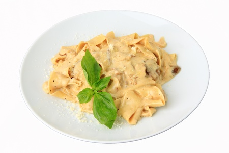 papardelle with mushrooms in cream sauce on white dish isolated over white background