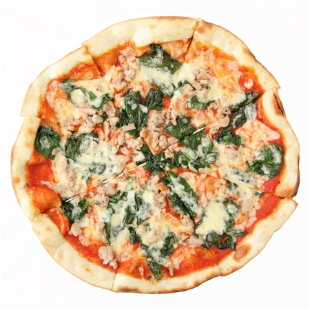 Pizzawith Spinach and Chicken isolated over white background. Top view.