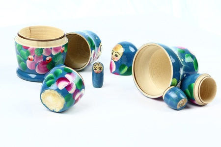 smallest: four opened matryoshka-dolls. Smallest one stands separately Stock Photo