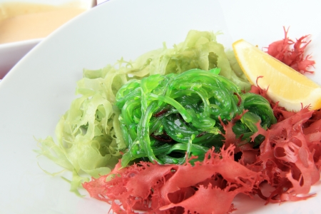 salad of green and red algae with nut sauce on white background  close up