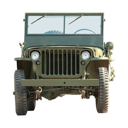 front of old military american off-road vehicle isolated on a white background