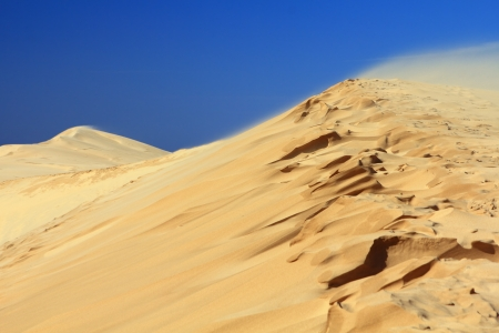 Sand dunes with rough crest under clear blue sky. The wind blows. photo