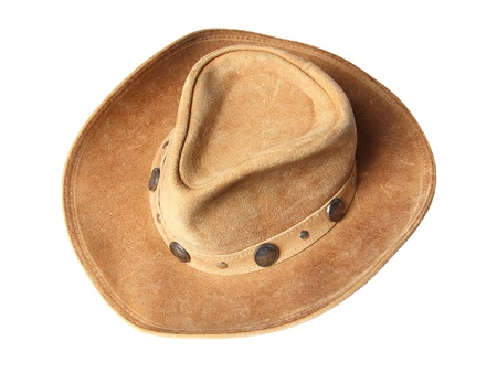 five cents: beige cowboy hat, decorated of five cents coins isolated on a white background