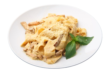 papardelle with ceps in cream sauce on white dish isolated over white background