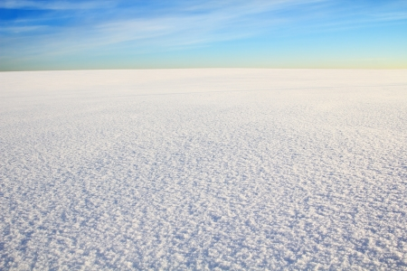 snow field: boundless snow desert under blue sky. Cirrus clouds are in the sky.