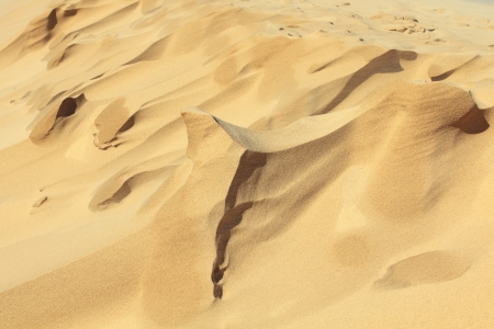 Sand shapes created by wind on the top of dune with rough crest  photo
