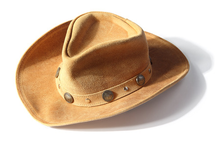 five cents: beige cowboy hat,  decorated of five cents coins and Illuminated front isolated on a white background with shadow