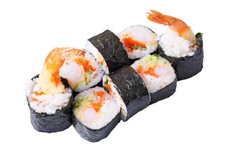 eight rolls ebi roru with  Flying fish roe,  Philadelphia  cheese and shrimps tempura isolated on white background  Side view Banco de Imagens