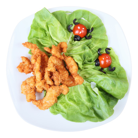 childrens meal: childrens meal. Top view. Stock Photo