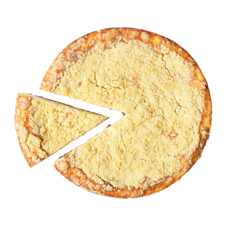 piece of cake: Top view of homemade curd pie - King cheesecake with cut piece over white. Top view. Stock Photo