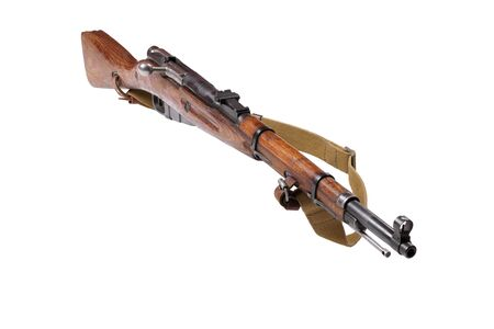 Mosin carbine obsolete russian rifle with tarpaulin strap isolated on a white Фото со стока
