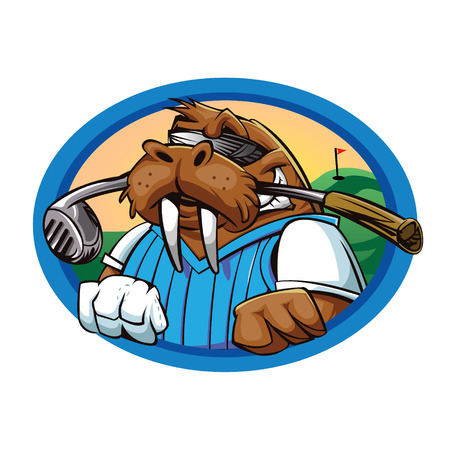 Cartoon walrus golfclub