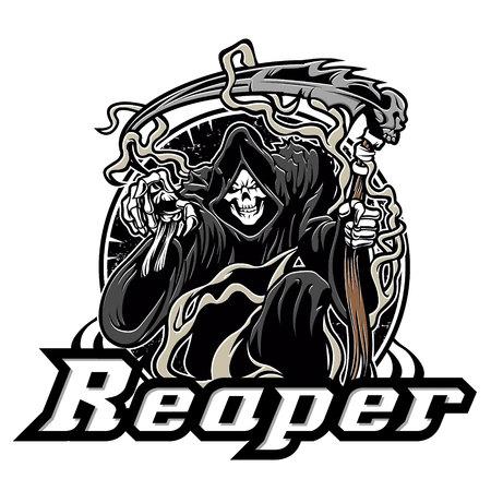 Illustration of grim reaper on white background Stock Illustratie