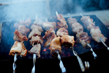 Background of crispy grilled meat and onion kebabs risknut  stil zhizni Stock Photo