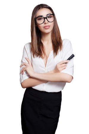 business woman in glasses with black marker isolated white background photo
