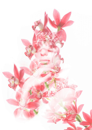 Double exposure portrait of young attractive woman blended with photograph of pink flower