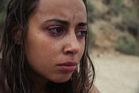 mourn: Crying Beauty Girl. Beautiful Model Woman Cry. Tears
