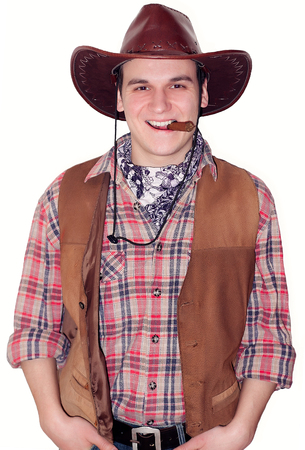 smoky eyes: guy in a cowboy costume for Halloween