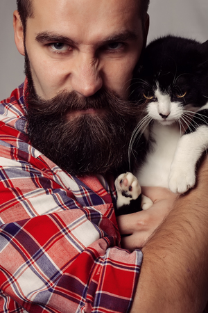 cute guy: brutal man with cat hipster, handsome, model, guy