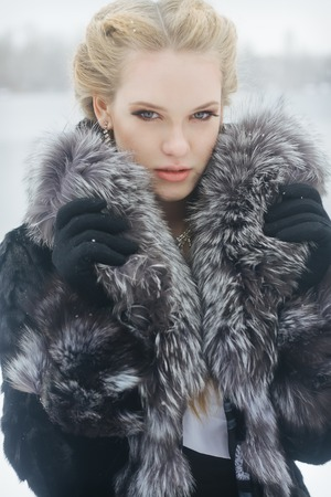 silver fox: Winter Girl in Luxury Fur Coat beautiful, black, coat, fashion