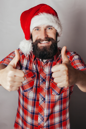 gray haired: Artistic portrait of gray haired santa claus santa, white, hat, red