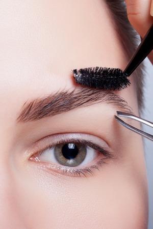 mujer maquillandose: joven morena con el pelo corto mujer maquillaje. Muchacha cosm�tica. Base de maquillaje perfecto up.Applying Maquillaje, correcci�n de estilo y ceja. cejas perfectas Foto de archivo