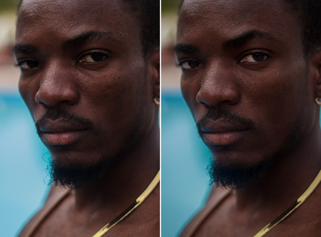 dark skinned: Before and after cosmetic operation. Young pretty man mulatto, dark skinned portrait, studio picture, bright background. Before and after plastic procedure, anti-age therapy, looking into  lens Stock Photo