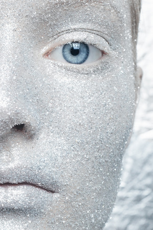 unreal: Beautiful, amazing portrait of two woman. Unreal make up like a space. Closeup shooting in studio with silver background. Emotion, posing of model. silver glitter.