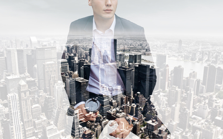 business lifestyle: people, business,Double exposure and lifestyle concept - Photo of businessman holding coffee. Double exposure, city on the background. Blurred background