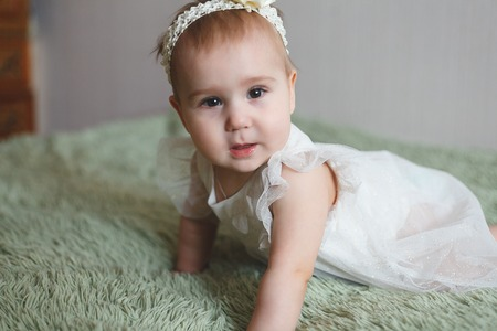 085450d03030d Cute adorable newborn baby of 3 moths with diapers. Hapy tiny little girl  or boy