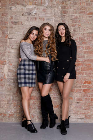 Three female friends posing. Three young beautiful smiling hipster girls in trendy casual clothes. Sexy carefree women posing. Positive models going crazy