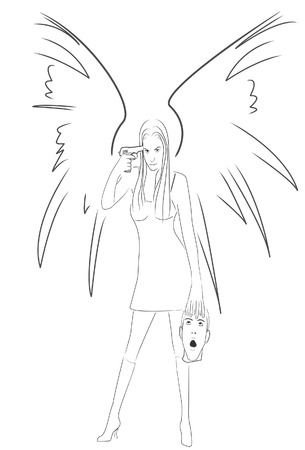 angel of death: The angel holds a head of the betrayed guy in a hand. Vector. Without mesh. Illustration
