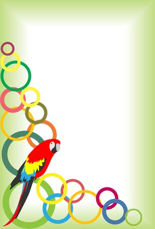 Frame with balls and a parrot. A vector. Without mesh Vector