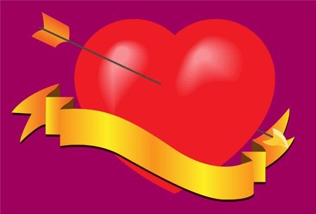 The pierced heart with a tape. Vector. Without mesh. Vector
