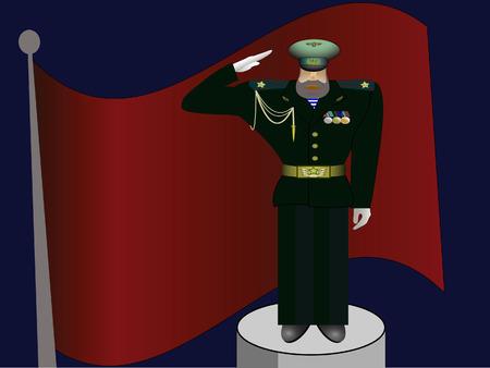 assured: El oficial militar en la forma en costas a una bandera Vectores
